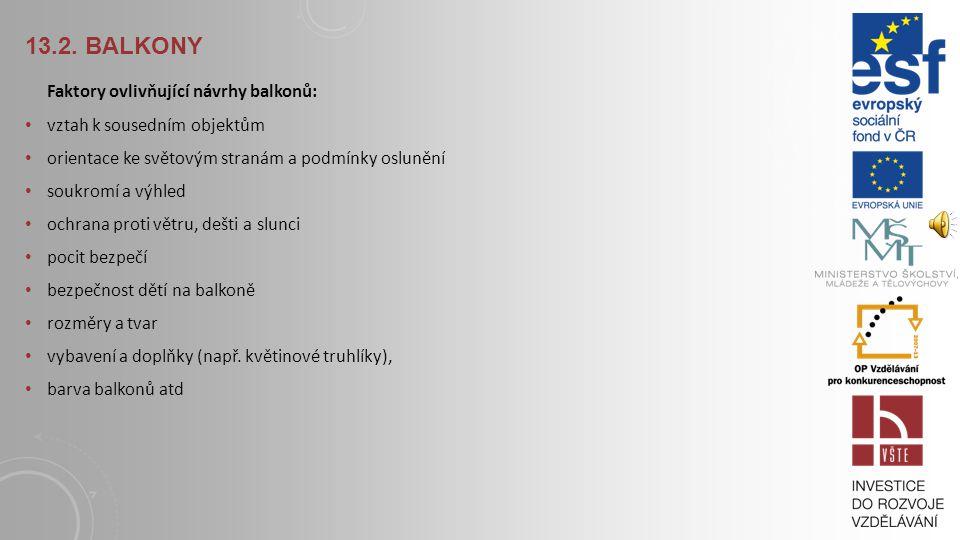 13.1. TERMINOLOGIE PŘEDSAZENÝCH KONSTRUKCÍ Balkon je převislá konstrukce umístěná v obvodové stěně a přístupná z interiéru. Má-li komunikační účel, na