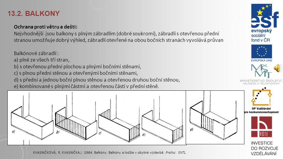 13.2. BALKONY Z hlediska konstrukce balkony mohou být: krakorcové (vykonzolované) – ve spojení se stropní konstrukcí, zavěšené – obvykle ocelovými táh