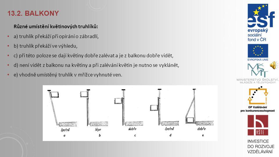 13.2. BALKONY Ochrana proti větru a dešti: Nejvhodnější jsou balkony s plným zábradlím (dobré soukromí), zábradlí s otevřenou přední stranou umožňuje