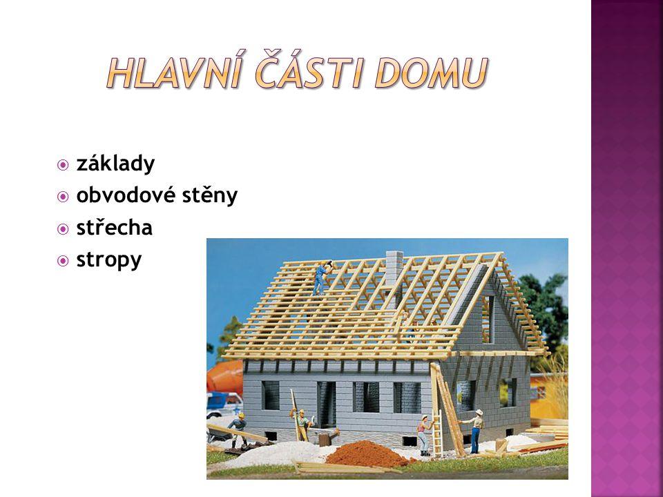  základy  obvodové stěny  střecha  stropy