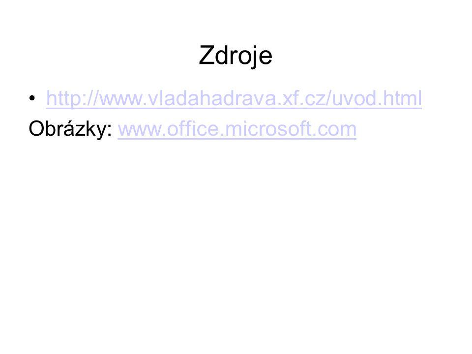 Zdroje http://www.vladahadrava.xf.cz/uvod.html Obrázky: www.office.microsoft.comwww.office.microsoft.com