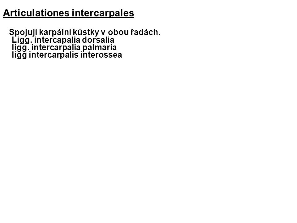 Articulationes intercarpales Spojují karpální kůstky v obou řadách.