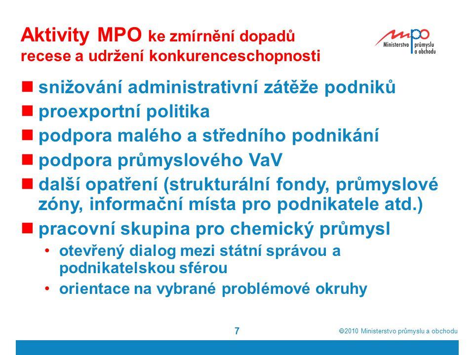  2010  Ministerstvo průmyslu a obchodu 7 Aktivity MPO ke zmírnění dopadů recese a udržení konkurenceschopnosti snižování administrativní zátěže pod