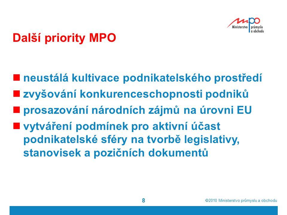  2010  Ministerstvo průmyslu a obchodu 8 Další priority MPO neustálá kultivace podnikatelského prostředí zvyšování konkurenceschopnosti podniků prosazování národních zájmů na úrovni EU vytváření podmínek pro aktivní účast podnikatelské sféry na tvorbě legislativy, stanovisek a pozičních dokumentů