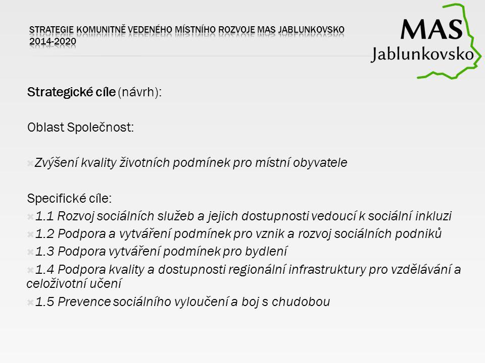 Strategické cíle (návrh): Oblast Společnost:  Zvýšení kvality životních podmínek pro místní obyvatele Specifické cíle:  1.1 Rozvoj sociálních služeb a jejich dostupnosti vedoucí k sociální inkluzi  1.2 Podpora a vytváření podmínek pro vznik a rozvoj sociálních podniků  1.3 Podpora vytváření podmínek pro bydlení  1.4 Podpora kvality a dostupnosti regionální infrastruktury pro vzdělávání a celoživotní učení  1.5 Prevence sociálního vyloučení a boj s chudobou