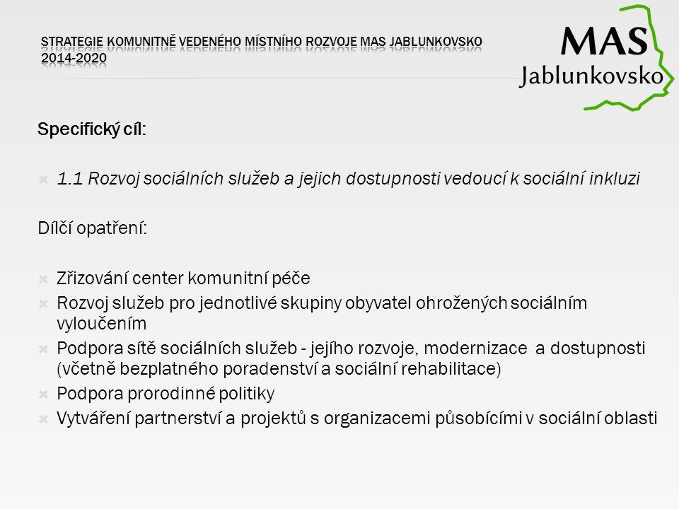 Specifický cíl:  1.1 Rozvoj sociálních služeb a jejich dostupnosti vedoucí k sociální inkluzi Dílčí opatření:  Zřizování center komunitní péče  Rozvoj služeb pro jednotlivé skupiny obyvatel ohrožených sociálním vyloučením  Podpora sítě sociálních služeb - jejího rozvoje, modernizace a dostupnosti (včetně bezplatného poradenství a sociální rehabilitace)  Podpora prorodinné politiky  Vytváření partnerství a projektů s organizacemi působícími v sociální oblasti