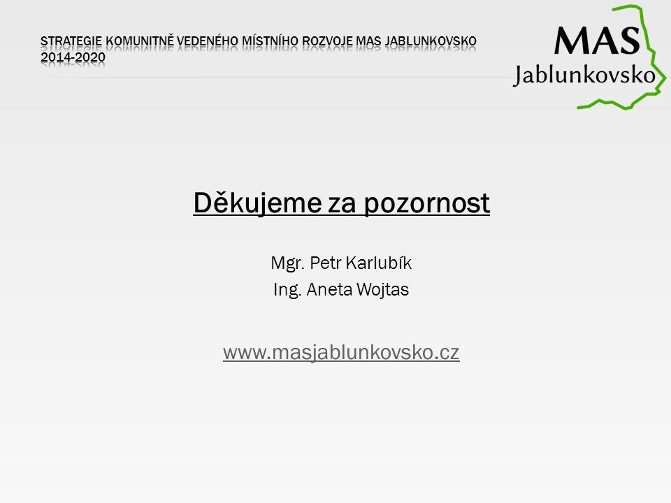 Děkujeme za pozornost Mgr. Petr Karlubík Ing. Aneta Wojtas www.masjablunkovsko.cz