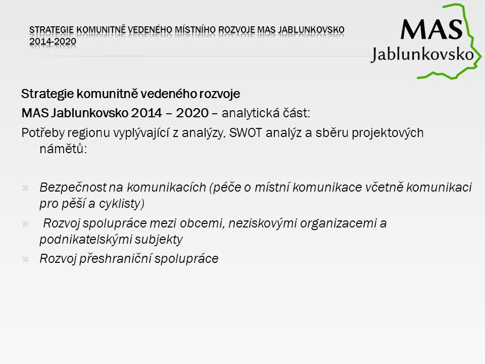 Strategie komunitně vedeného rozvoje MAS Jablunkovsko 2014 – 2020 – analytická část: Potřeby regionu vyplývající z analýzy, SWOT analýz a sběru projektových námětů:  Bezpečnost na komunikacích (péče o místní komunikace včetně komunikaci pro pěší a cyklisty)  Rozvoj spolupráce mezi obcemi, neziskovými organizacemi a podnikatelskými subjekty  Rozvoj přeshraniční spolupráce