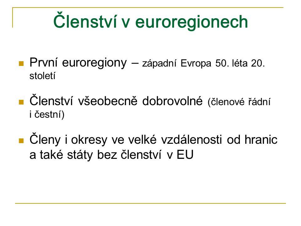 Členství v euroregionech První euroregiony – západní Evropa 50.