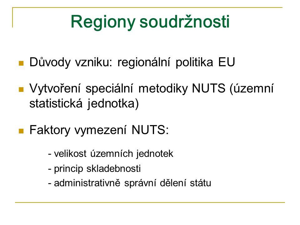 Regiony soudržnosti Důvody vzniku: regionální politika EU Vytvoření speciální metodiky NUTS (územní statistická jednotka) Faktory vymezení NUTS: - velikost územních jednotek - princip skladebnosti - administrativně správní dělení státu