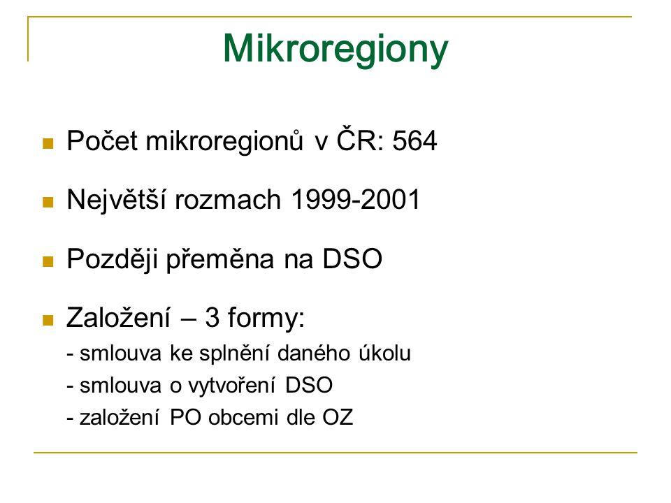 Mikroregiony Počet mikroregionů v ČR: 564 Největší rozmach 1999-2001 Později přeměna na DSO Založení – 3 formy: - smlouva ke splnění daného úkolu - smlouva o vytvoření DSO - založení PO obcemi dle OZ