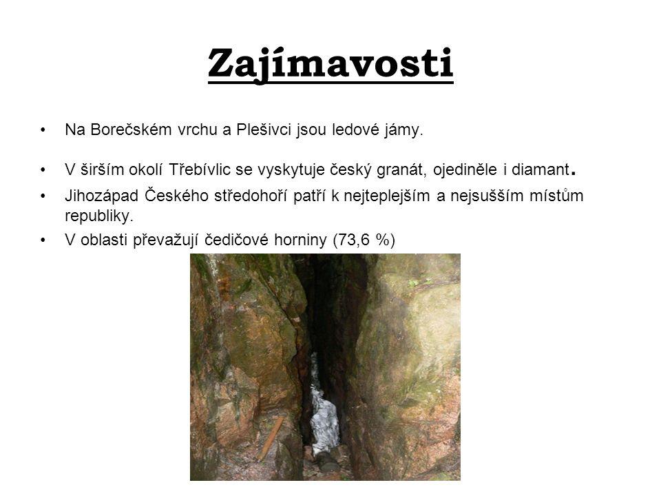 Zajímavosti Na Borečském vrchu a Plešivci jsou ledové jámy. V širším okolí Třebívlic se vyskytuje český granát, ojediněle i diamant. Jihozápad Českého