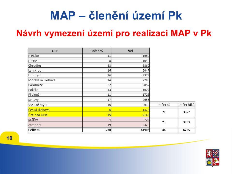 10 MAP – členění území Pk Návrh vymezení území pro realizaci MAP v Pk