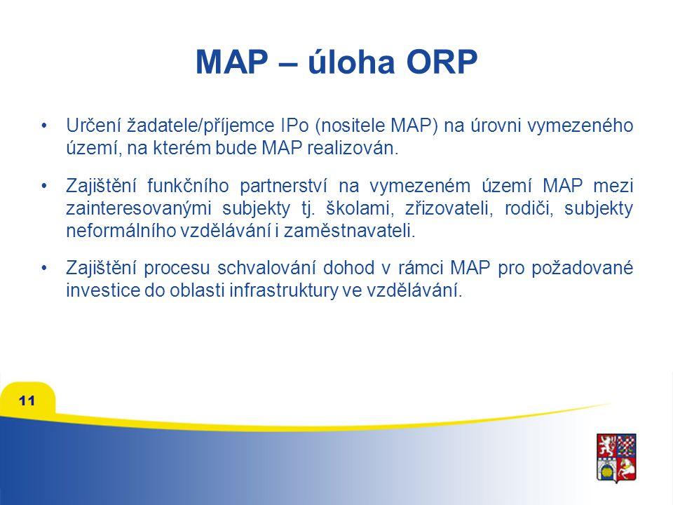 11 MAP – úloha ORP Určení žadatele/příjemce IPo (nositele MAP) na úrovni vymezeného území, na kterém bude MAP realizován. Zajištění funkčního partners
