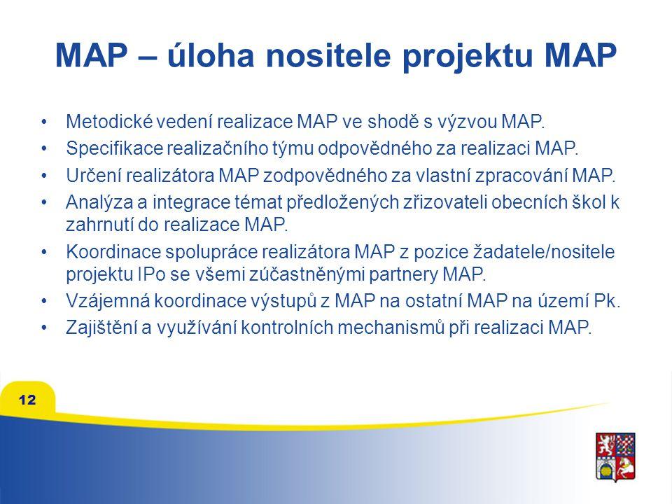 12 MAP – úloha nositele projektu MAP Metodické vedení realizace MAP ve shodě s výzvou MAP. Specifikace realizačního týmu odpovědného za realizaci MAP.