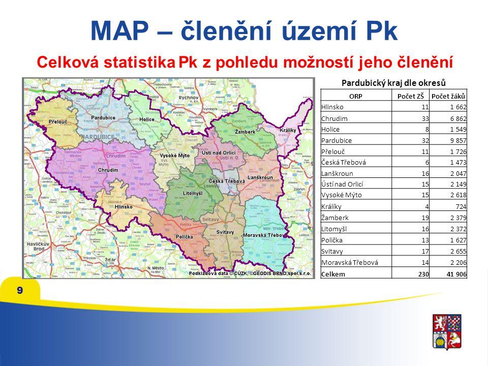 9 MAP – členění území Pk Celková statistika Pk z pohledu možností jeho členění Pardubický kraj dle okresů ORPPočet ZŠPočet žáků Hlinsko111 662 Chrudim