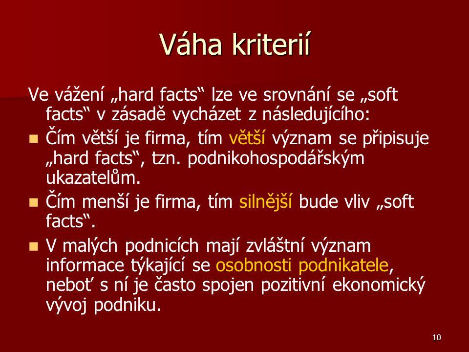 """10 Váha kriterií Ve vážení """"hard facts lze ve srovnání se """"soft facts v zásadě vycházet z následujícího: Čím větší je firma, tím větší význam se připisuje """"hard facts , tzn."""