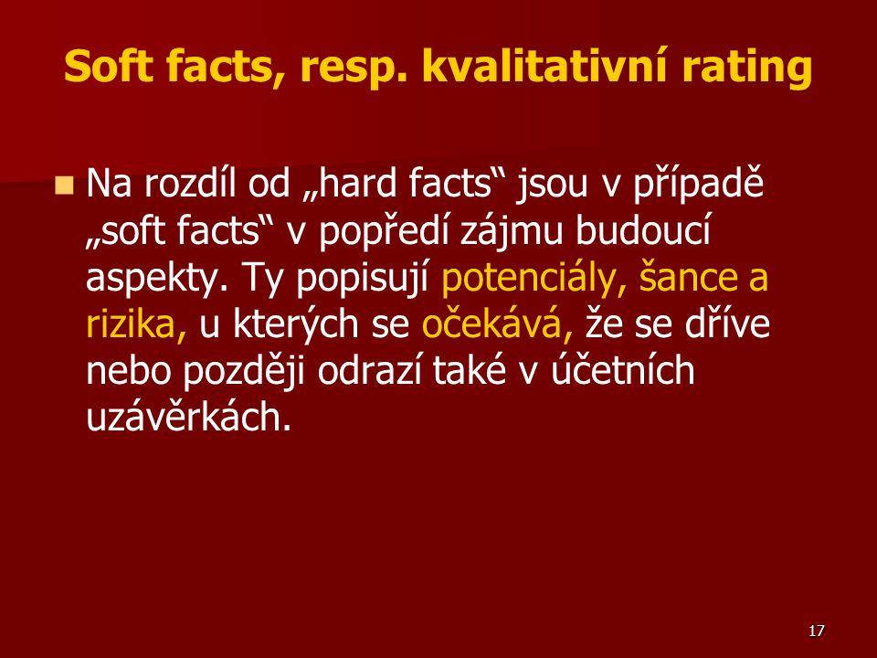 """17 Soft facts, resp. kvalitativní rating Na rozdíl od """"hard facts"""" jsou v případě """"soft facts"""" v popředí zájmu budoucí aspekty. Ty popisují potenciály"""