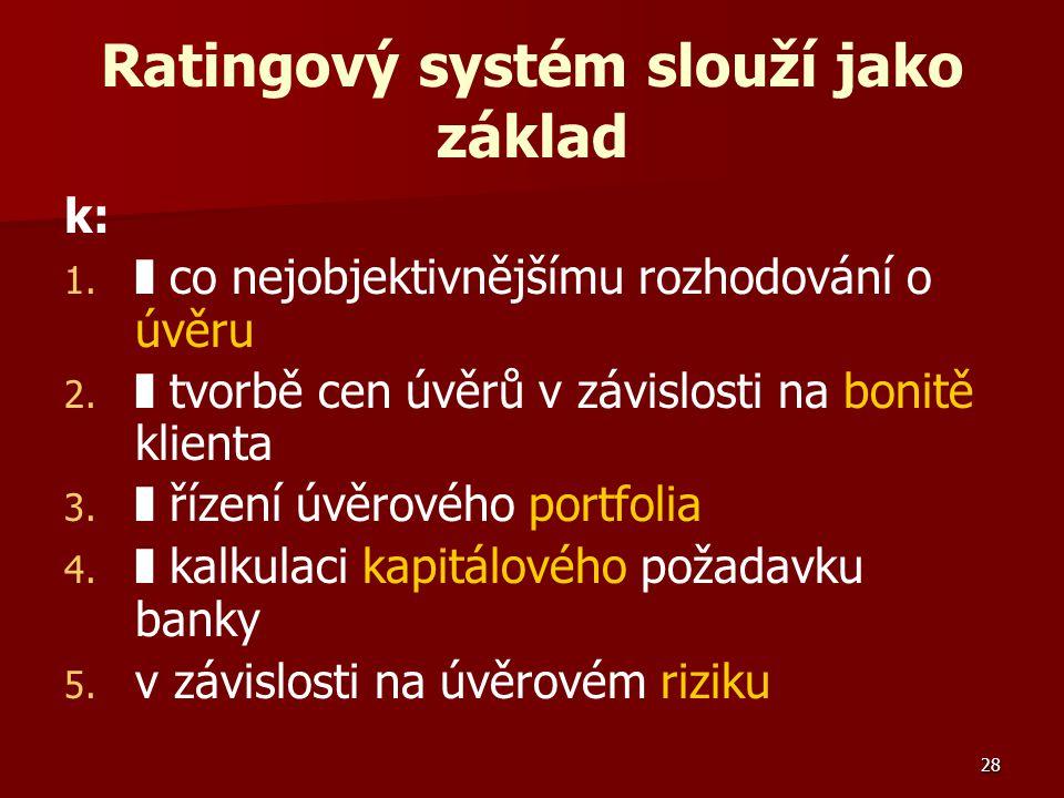 28 Ratingový systém slouží jako základ k: 1. 1. ❚ co nejobjektivnějšímu rozhodování o úvěru 2. 2. ❚ tvorbě cen úvěrů v závislosti na bonitě klienta 3.