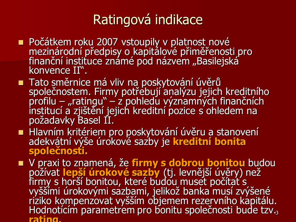 3 Ratingová indikace Počátkem roku 2007 vstoupily v platnost nové mezinárodní předpisy o kapitálové přiměřenosti pro finanční instituce známé pod názv