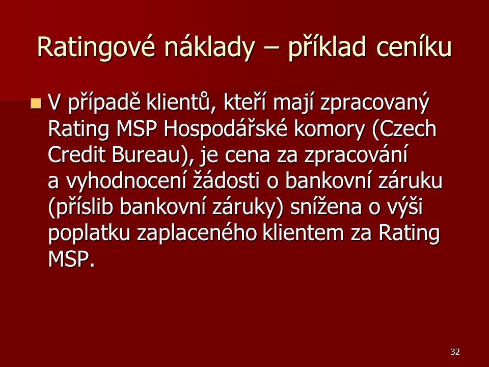32 Ratingové náklady – příklad ceníku V případě klientů, kteří mají zpracovaný Rating MSP Hospodářské komory (Czech Credit Bureau), je cena za zpracov