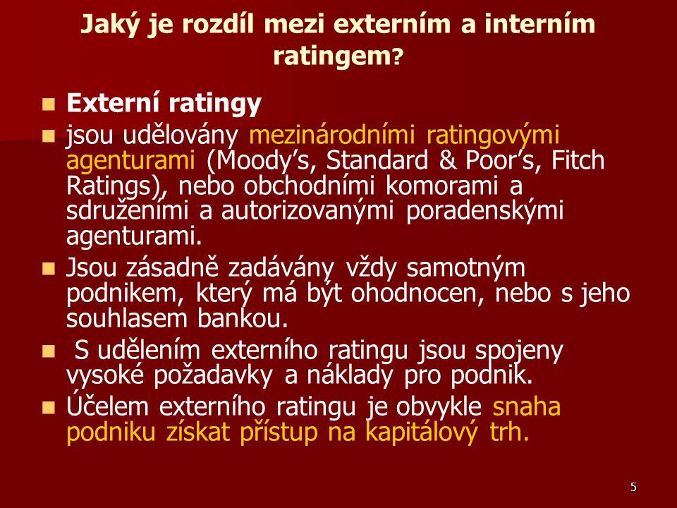 5 Jaký je rozdíl mezi externím a interním ratingem ? Externí ratingy jsou udělovány mezinárodními ratingovými agenturami (Moody's, Standard & Poor's,