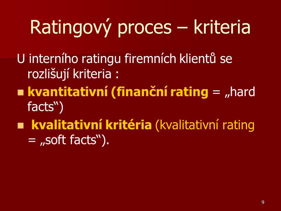 """9 Ratingový proces – kriteria U interního ratingu firemních klientů se rozlišují kriteria : kvantitativní (finanční rating = """"hard facts ) kvalitativní kritéria (kvalitativní rating = """"soft facts )."""