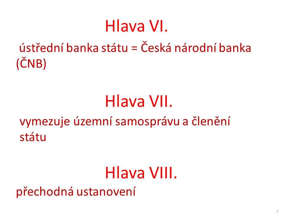7 Hlava VI. ústřední banka státu = Česká národní banka (ČNB) Hlava VII. vymezuje územní samosprávu a členění státu Hlava VIII. přechodná ustanovení