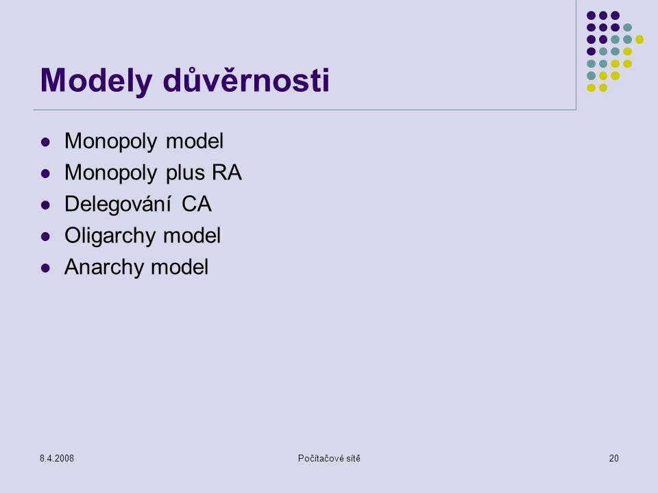 8.4.2008Počítačové sítě20 Modely důvěrnosti Monopoly model Monopoly plus RA Delegování CA Oligarchy model Anarchy model