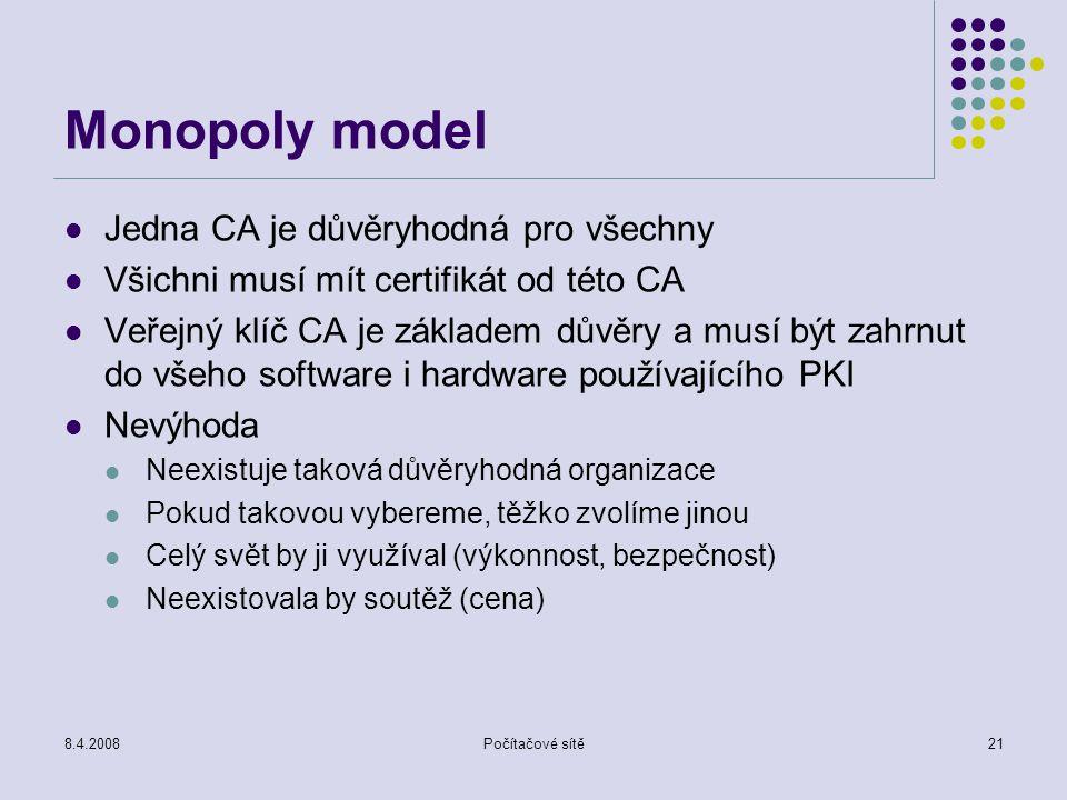 8.4.2008Počítačové sítě21 Monopoly model Jedna CA je důvěryhodná pro všechny Všichni musí mít certifikát od této CA Veřejný klíč CA je základem důvěry