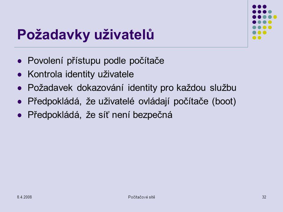 8.4.2008Počítačové sítě32 Požadavky uživatelů Povolení přístupu podle počítače Kontrola identity uživatele Požadavek dokazování identity pro každou sl