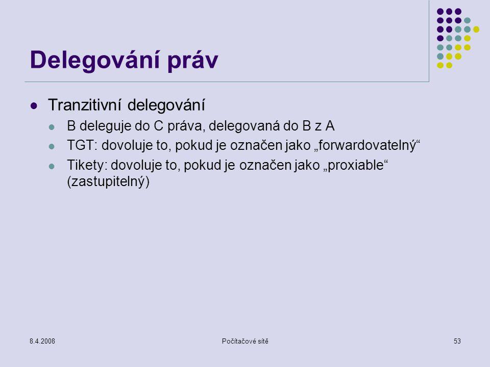 """8.4.2008Počítačové sítě53 Delegování práv Tranzitivní delegování B deleguje do C práva, delegovaná do B z A TGT: dovoluje to, pokud je označen jako """"f"""
