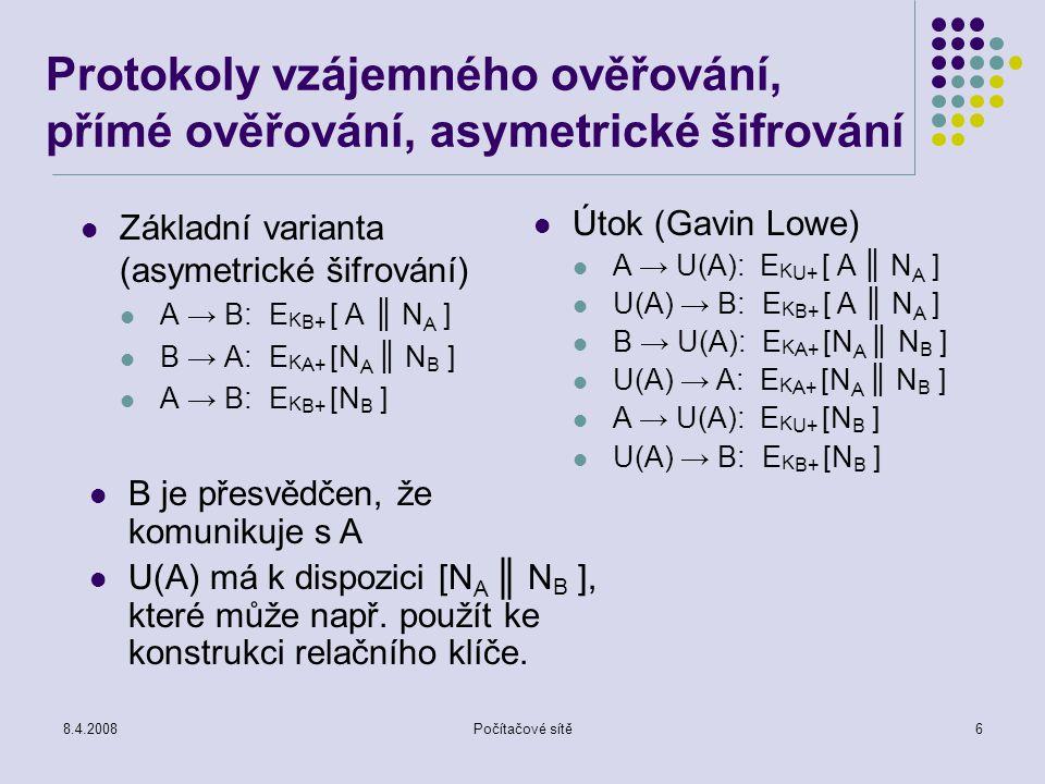 8.4.2008Počítačové sítě6 Protokoly vzájemného ověřování, přímé ověřování, asymetrické šifrování Základní varianta (asymetrické šifrování) A → B: E K B