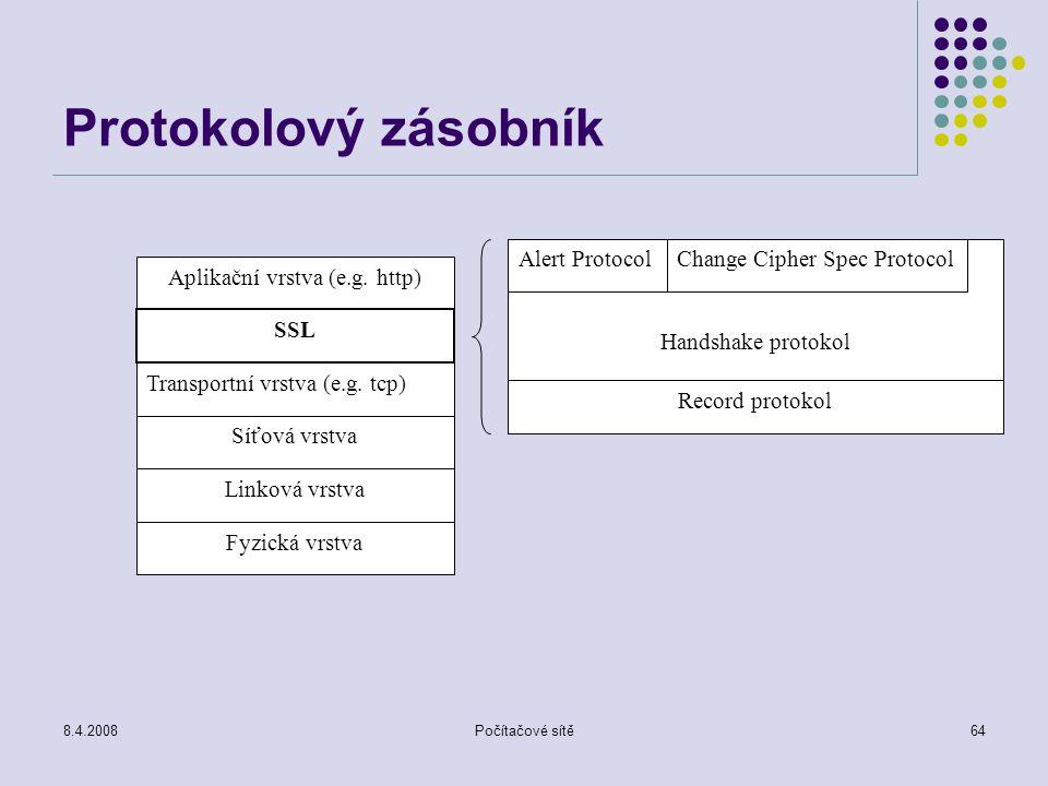 8.4.2008Počítačové sítě64 Protokolový zásobník Aplikační vrstva (e.g. http) SSL Transportní vrstva (e.g. tcp) Síťová vrstva Linková vrstva Fyzická vrs
