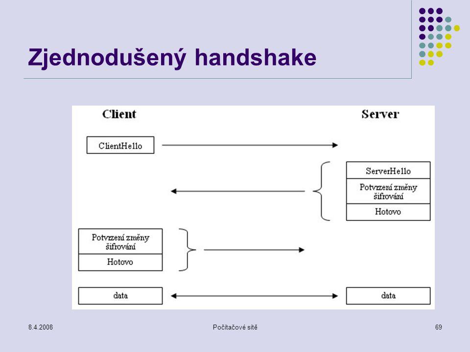 8.4.2008Počítačové sítě69 Zjednodušený handshake
