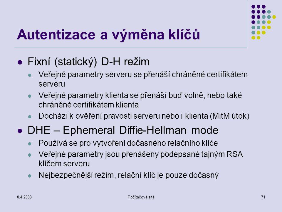 8.4.2008Počítačové sítě71 Autentizace a výměna klíčů Fixní (statický) D-H režim Veřejné parametry serveru se přenáší chráněné certifikátem serveru Veř