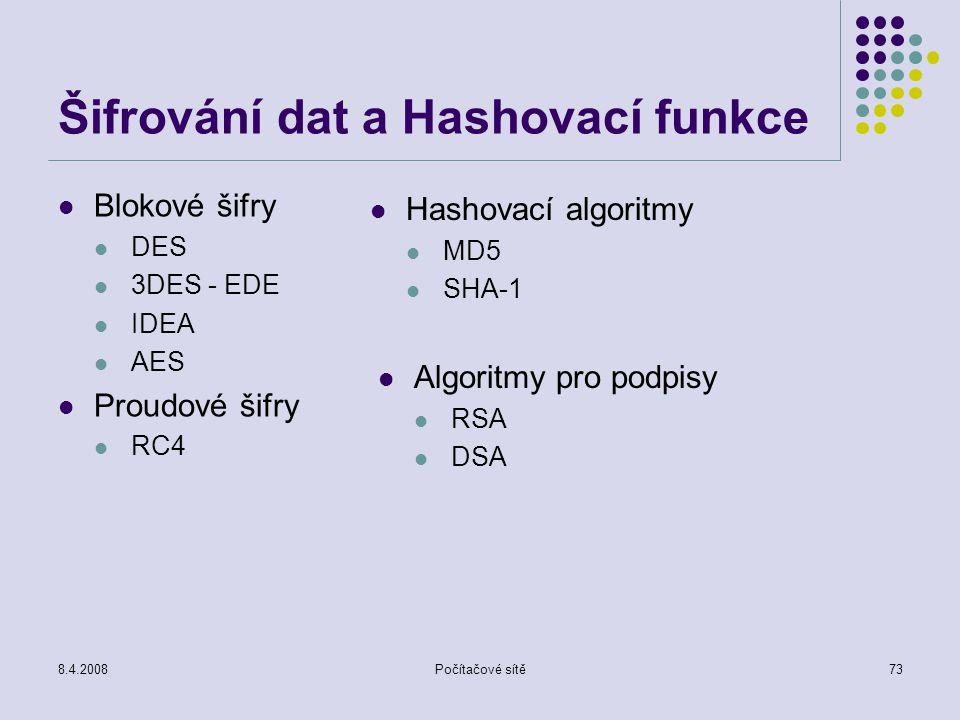 8.4.2008Počítačové sítě73 Šifrování dat a Hashovací funkce Blokové šifry DES 3DES - EDE IDEA AES Proudové šifry RC4 Hashovací algoritmy MD5 SHA-1 Algo