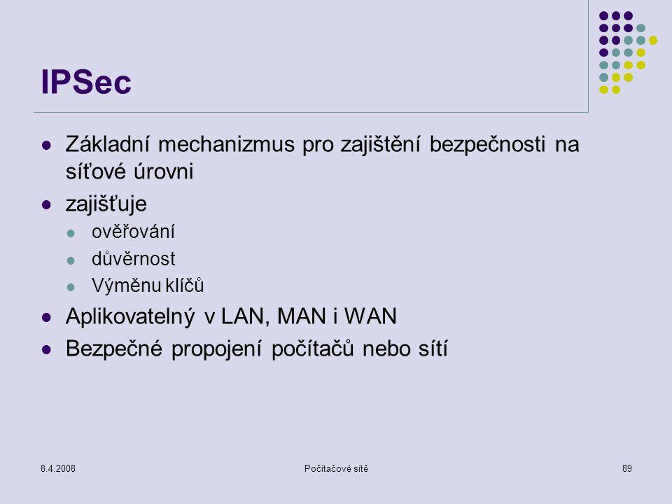 8.4.2008Počítačové sítě89 IPSec Základní mechanizmus pro zajištění bezpečnosti na síťové úrovni zajišťuje ověřování důvěrnost Výměnu klíčů Aplikovatel