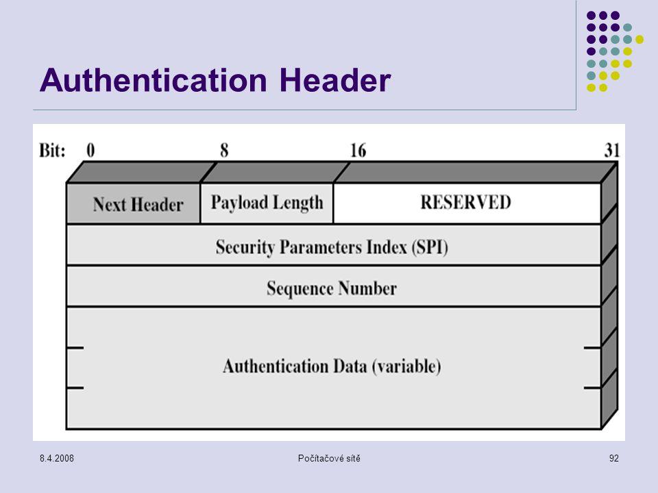 8.4.2008Počítačové sítě92 Authentication Header