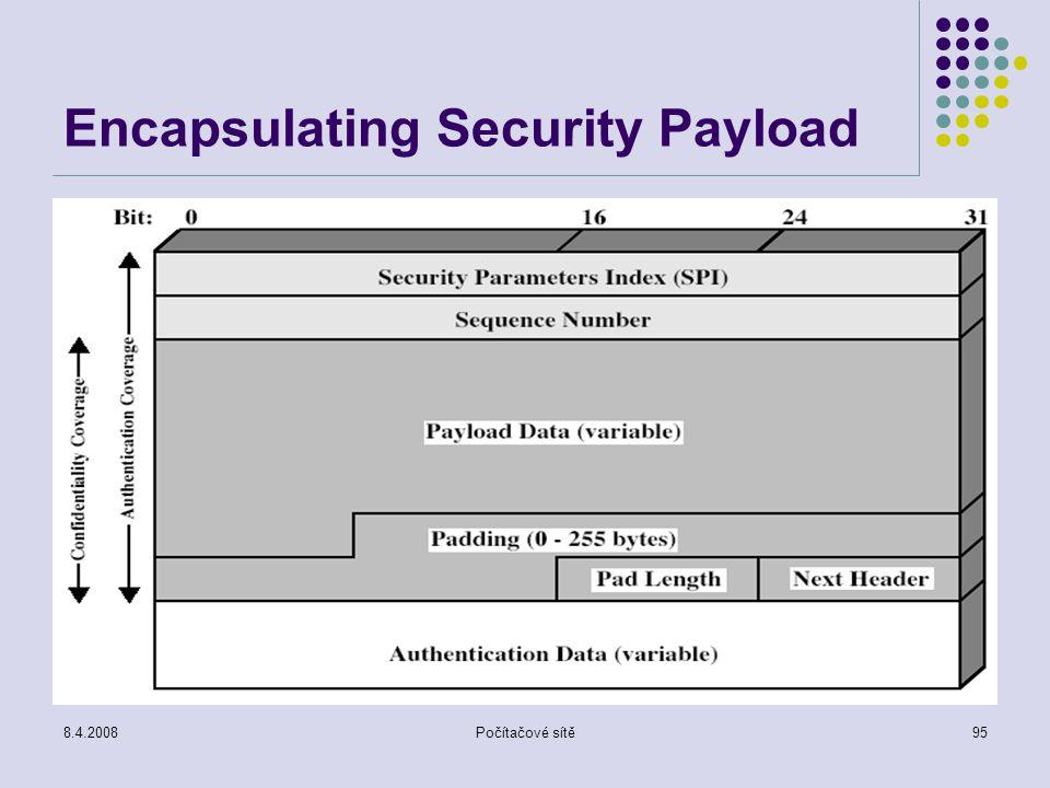 8.4.2008Počítačové sítě95 Encapsulating Security Payload