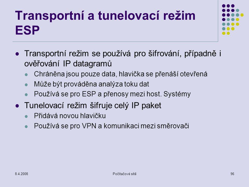 8.4.2008Počítačové sítě96 Transportní a tunelovací režim ESP Transportní režim se používá pro šifrování, případně i ověřování IP datagramů Chráněna js