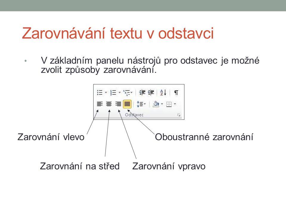 Zarovnávání textu v odstavci V základním panelu nástrojů pro odstavec je možné zvolit způsoby zarovnávání.