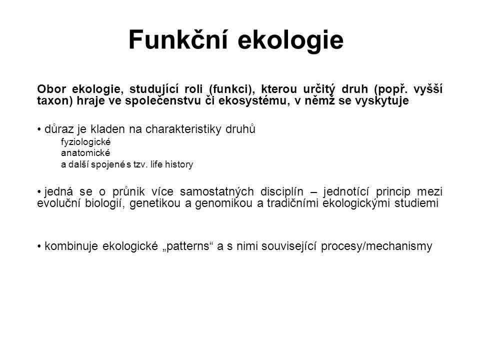 Funkční ekologie Obor ekologie, studující roli (funkci), kterou určitý druh (popř. vyšší taxon) hraje ve společenstvu či ekosystému, v němž se vyskytu