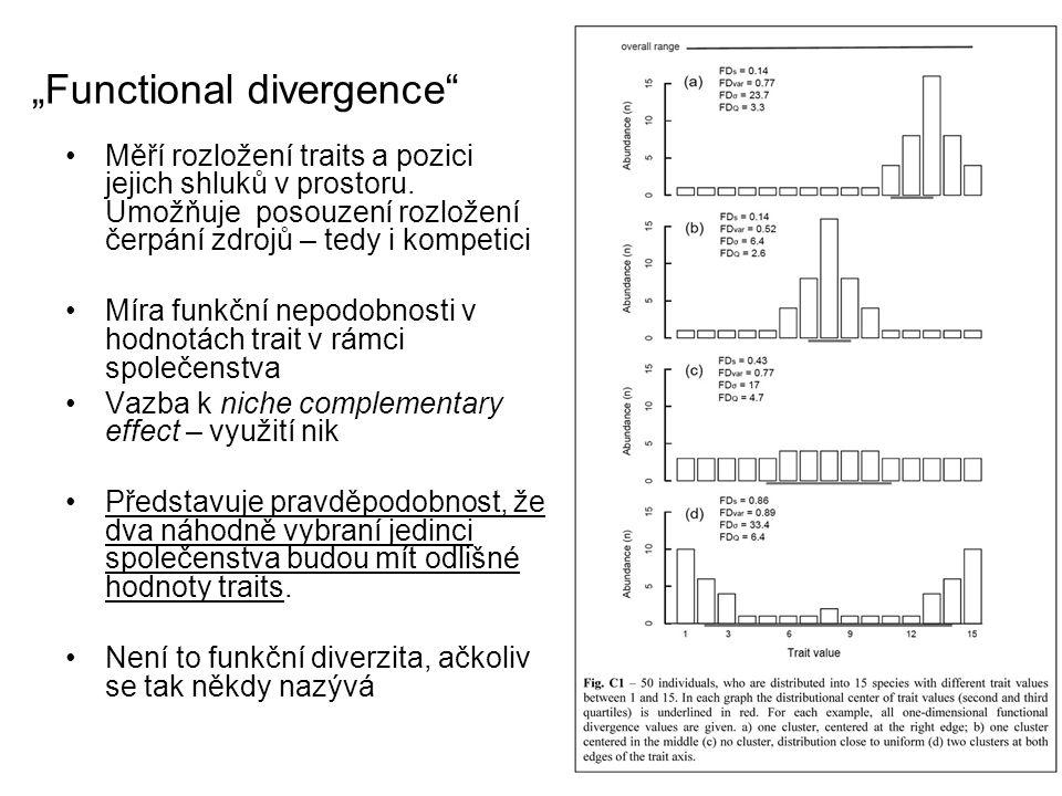 """""""Functional divergence"""" Měří rozložení traits a pozici jejich shluků v prostoru. Umožňuje posouzení rozložení čerpání zdrojů – tedy i kompetici Míra f"""