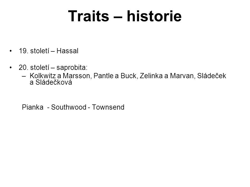 Traits – historie 19. století – Hassal 20. století – saprobita: –Kolkwitz a Marsson, Pantle a Buck, Zelinka a Marvan, Sládeček a Sládečková Pianka - S