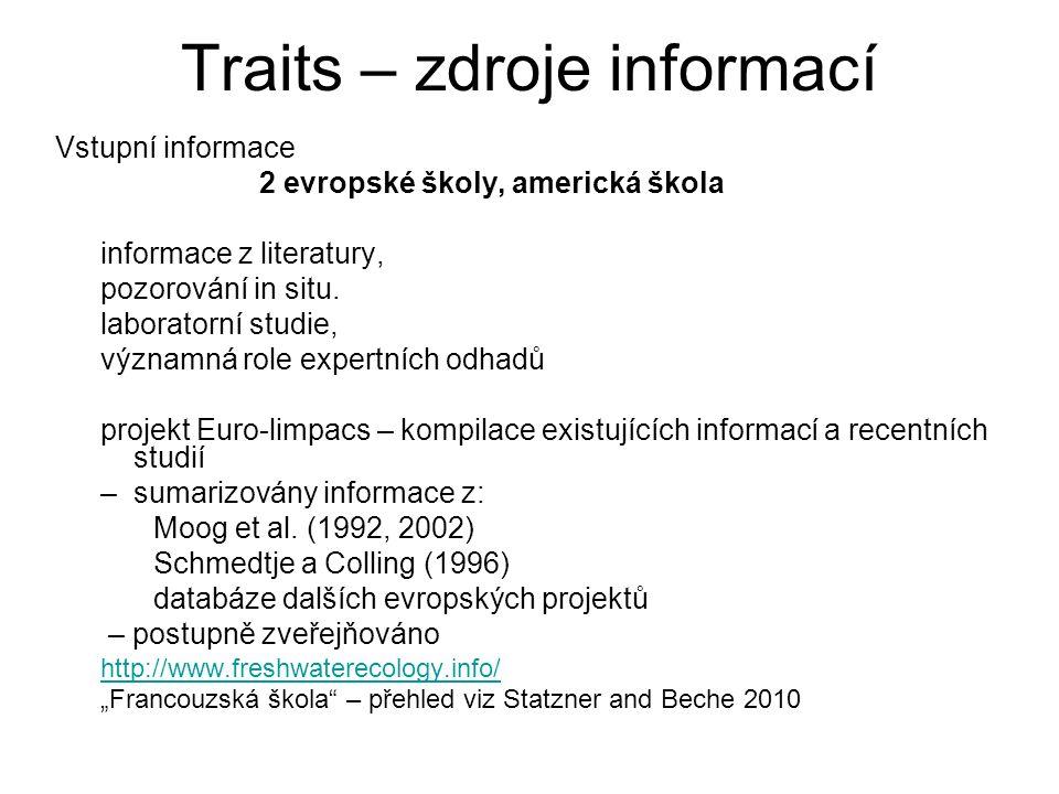 Traits – zdroje informací Vstupní informace 2 evropské školy, americká škola informace z literatury, pozorování in situ. laboratorní studie, významná