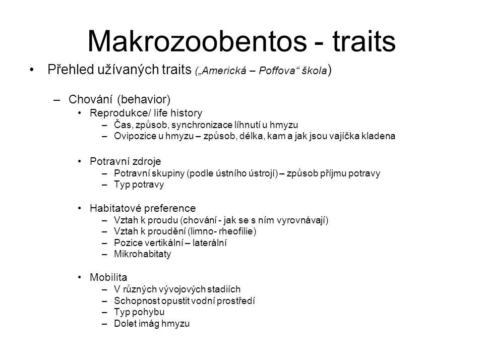 """Makrozoobentos - traits Přehled užívaných traits (""""Americká – Poffova"""" škola ) –Chování (behavior) Reprodukce/ life history –Čas, způsob, synchronizac"""
