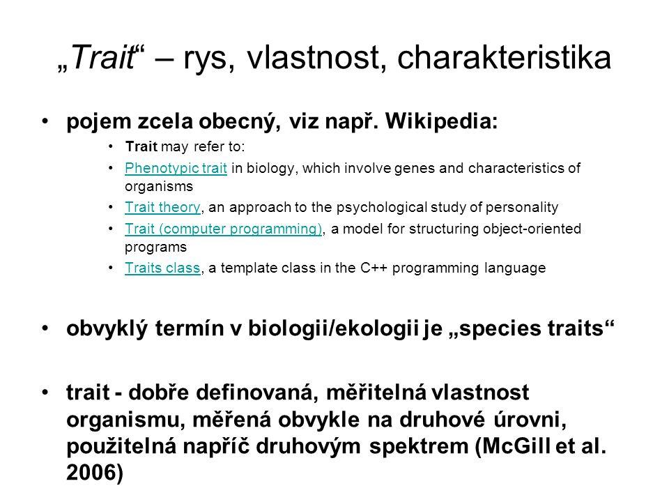 """Trait"" – rys, vlastnost, charakteristika pojem zcela obecný, viz např. Wikipedia: Trait may refer to: Phenotypic trait in biology, which involve gene"