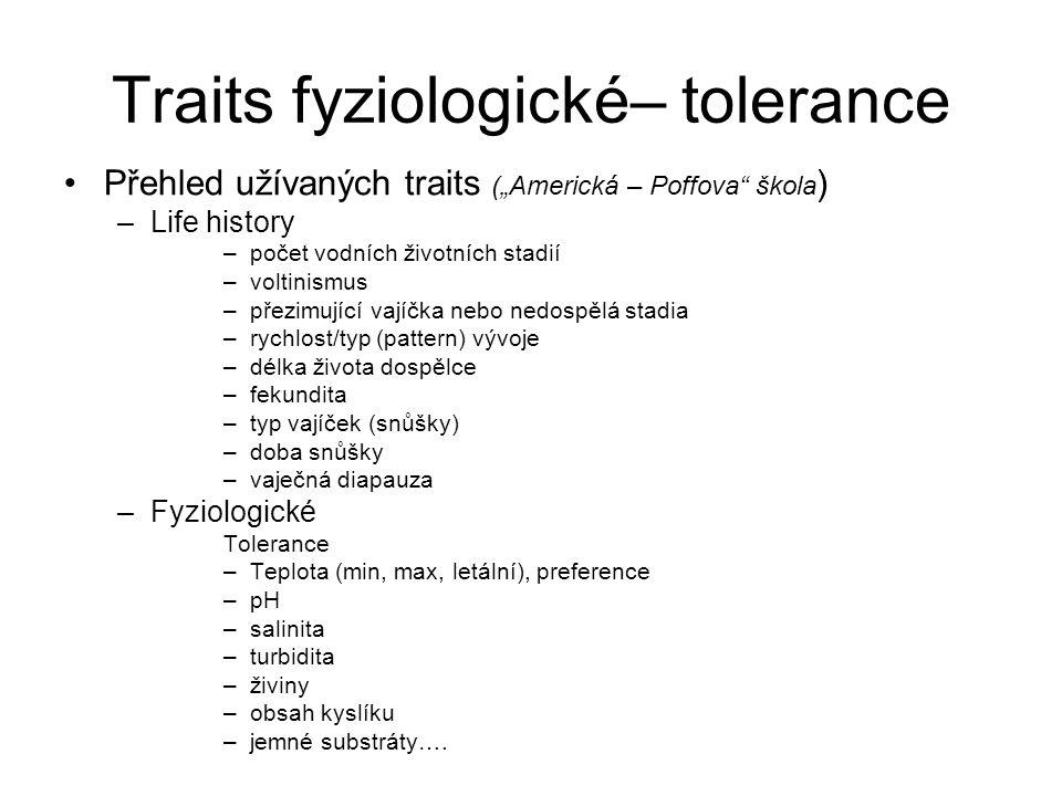 """Traits fyziologické– tolerance Přehled užívaných traits (""""Americká – Poffova"""" škola ) –Life history –počet vodních životních stadií –voltinismus –přez"""