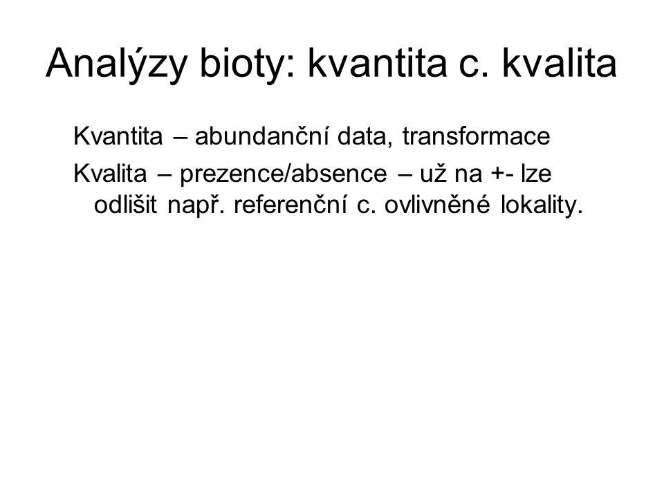 Analýzy bioty: kvantita c. kvalita Kvantita – abundanční data, transformace Kvalita – prezence/absence – už na +- lze odlišit např. referenční c. ovli